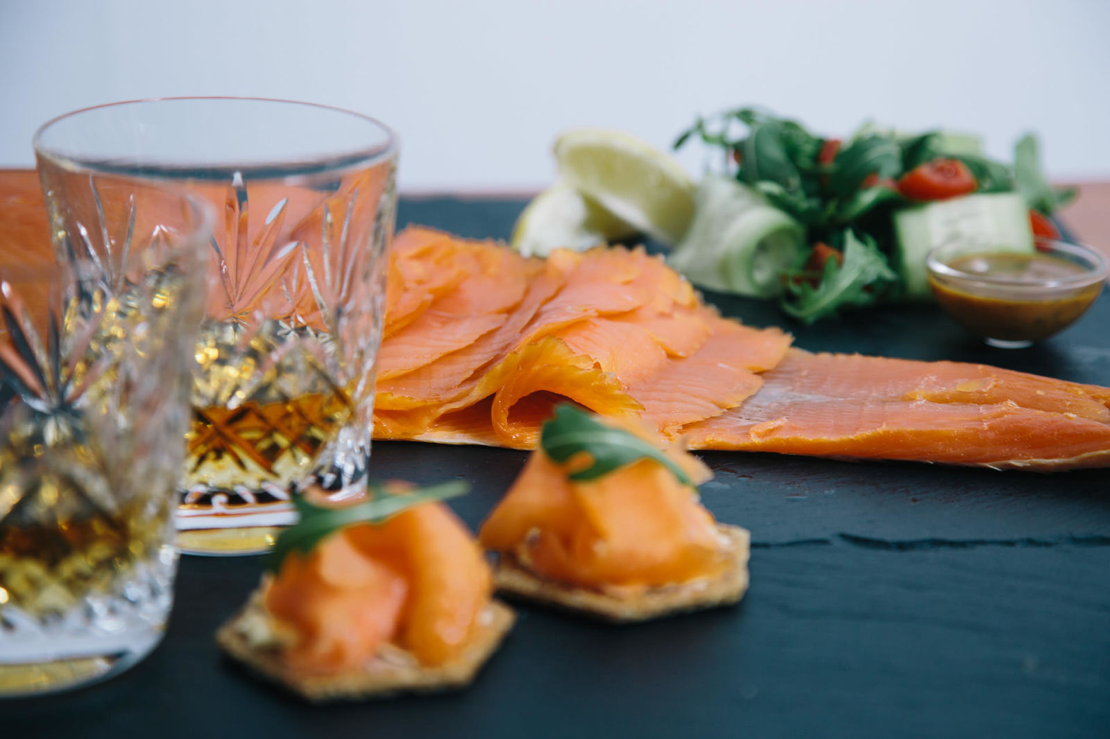 whisky-cold-smoked-salmon-salad-oatcakes