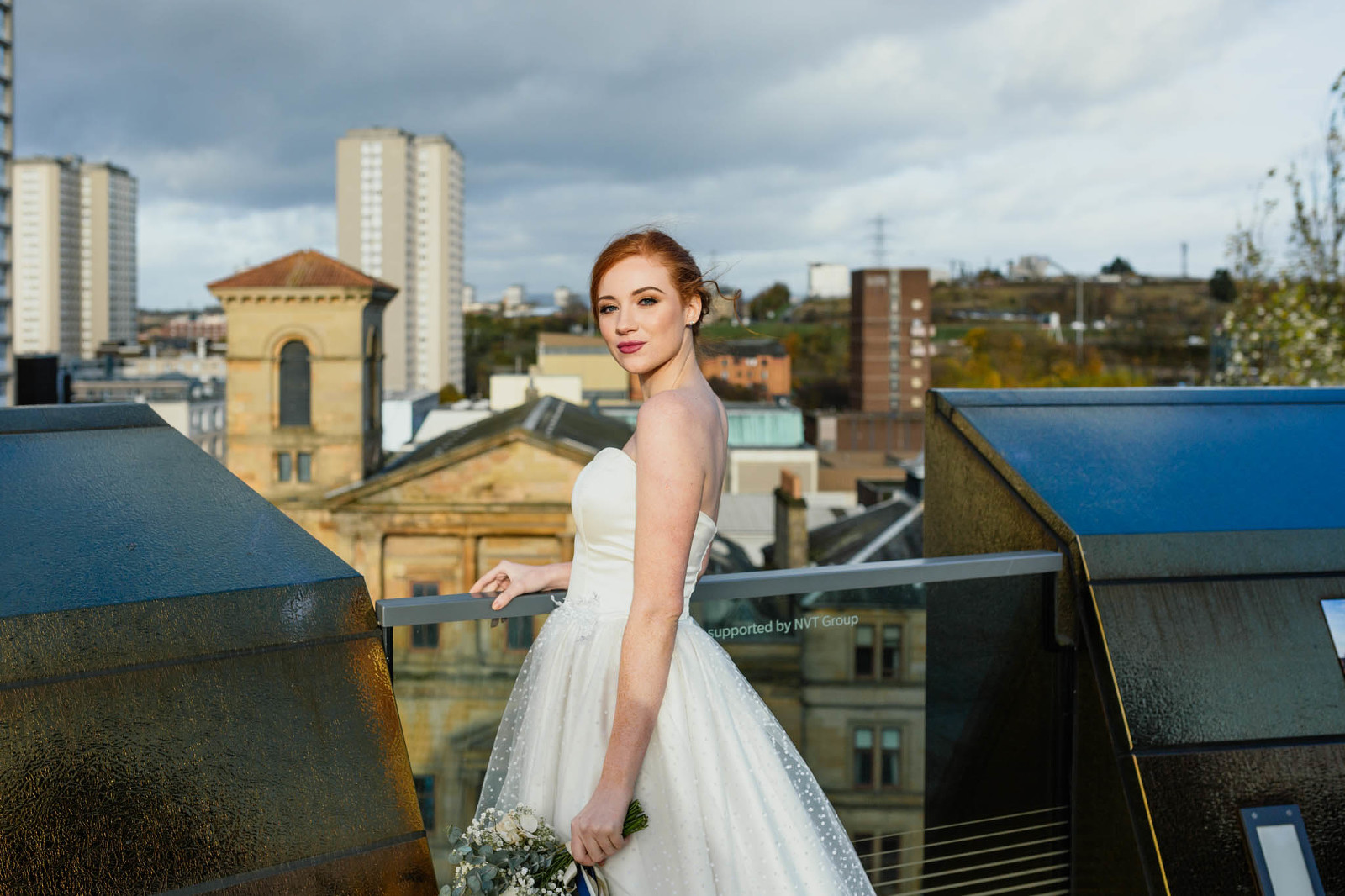 bride-glasgow-rooftop-golden-hour