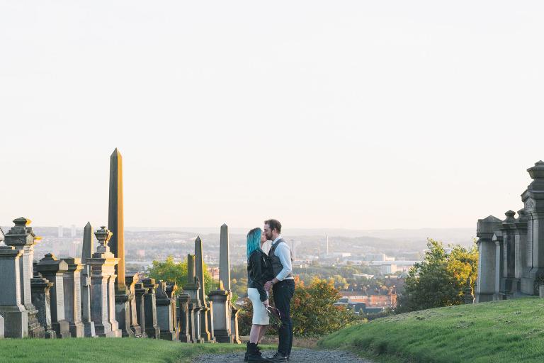 couple-kissing-at-necropolis-glasgow