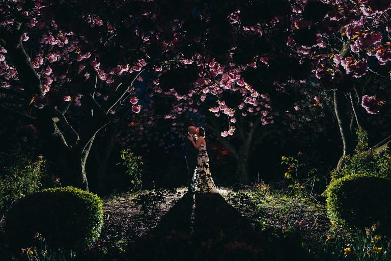 alternative-glasgow-wedding-blythswood-square-backlit-cherry-blossom